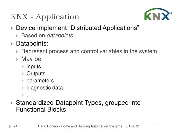 """KNX - Application    Device implement """"Distributed Applications""""        Based on datapoints    Datapoints:        Repr..."""