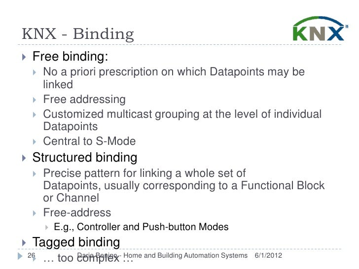 KNX - Binding    Free binding:        No a priori prescription on which Datapoints may be         linked        Free ad...