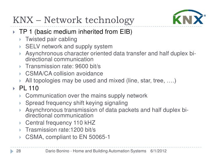 KNX – Network technology    TP 1 (basic medium inherited from EIB)        Twisted pair cabling        SELV network and ...