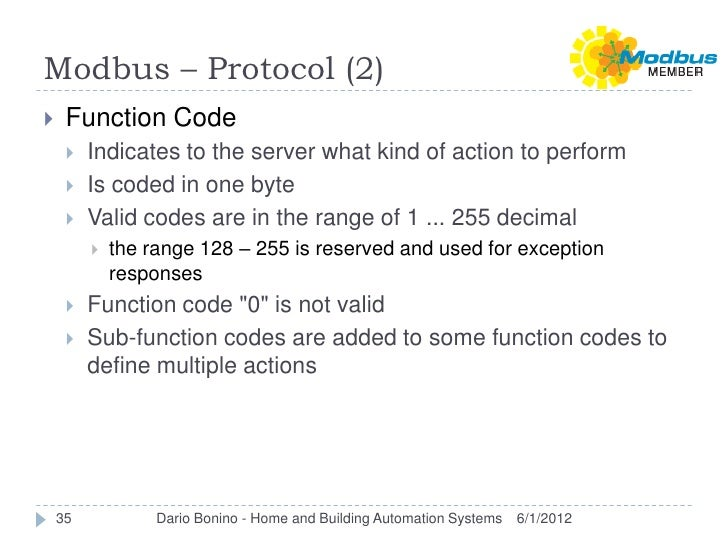 Modbus – Protocol (2)    Function Code        Indicates to the server what kind of action to perform        Is coded in...