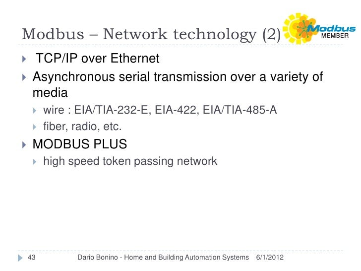 Modbus – Network technology (2)    TCP/IP over Ethernet    Asynchronous serial transmission over a variety of     media ...