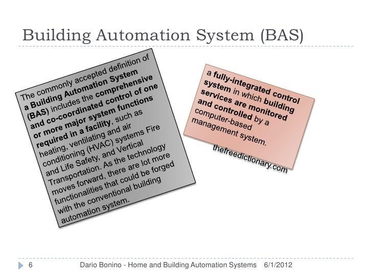 Building Automation System (BAS)6     Dario Bonino - Home and Building Automation Systems   6/1/2012