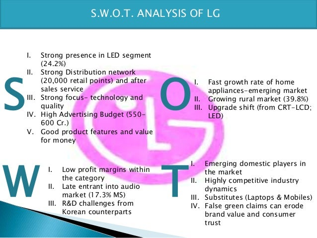 lg swot analysis Wikiwealth offers a comprehensive swot analysis of lg display (lpl) our free research report includes lg display's strengths, weaknesses, opportunities, and threats.