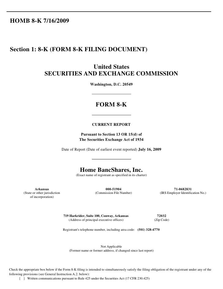 HOMB 8-K 7/16/2009    Section 1: 8-K (FORM 8-K FILING DOCUMENT)                                         United States     ...