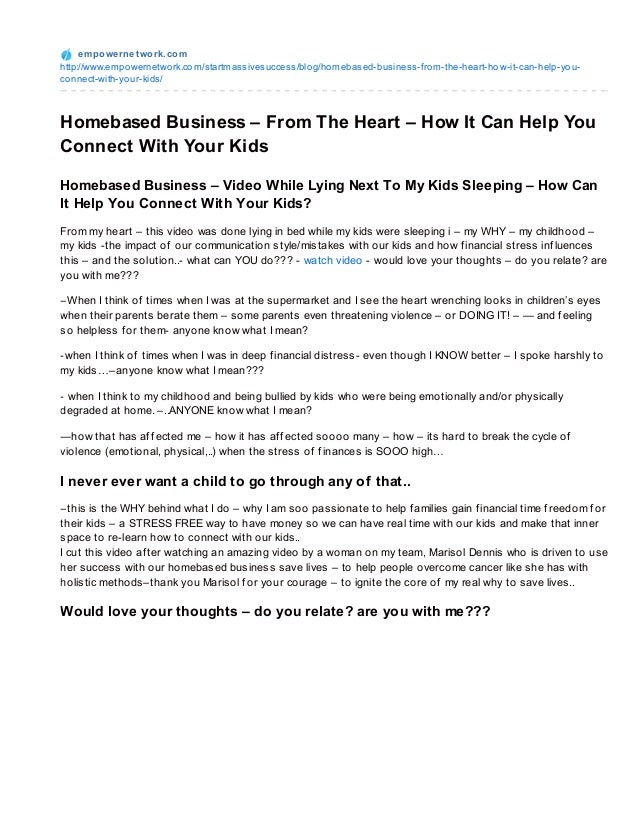 Homebased business   from the heart - how it can help your connect with your kids