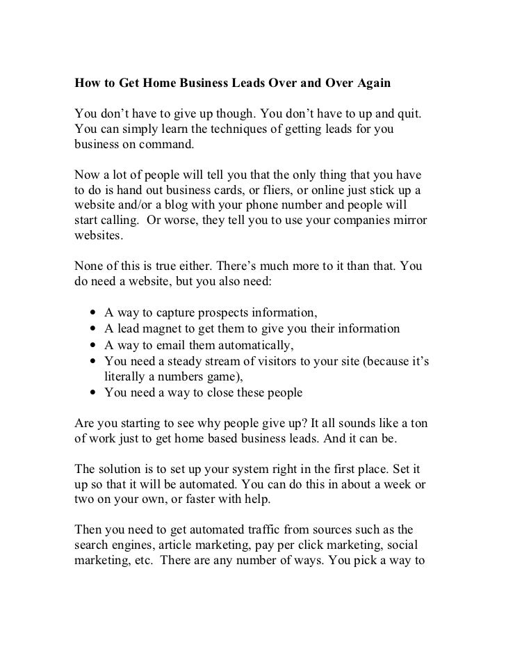 Home Based Business Leads – Quick and Easy Ways to Get More Network M…