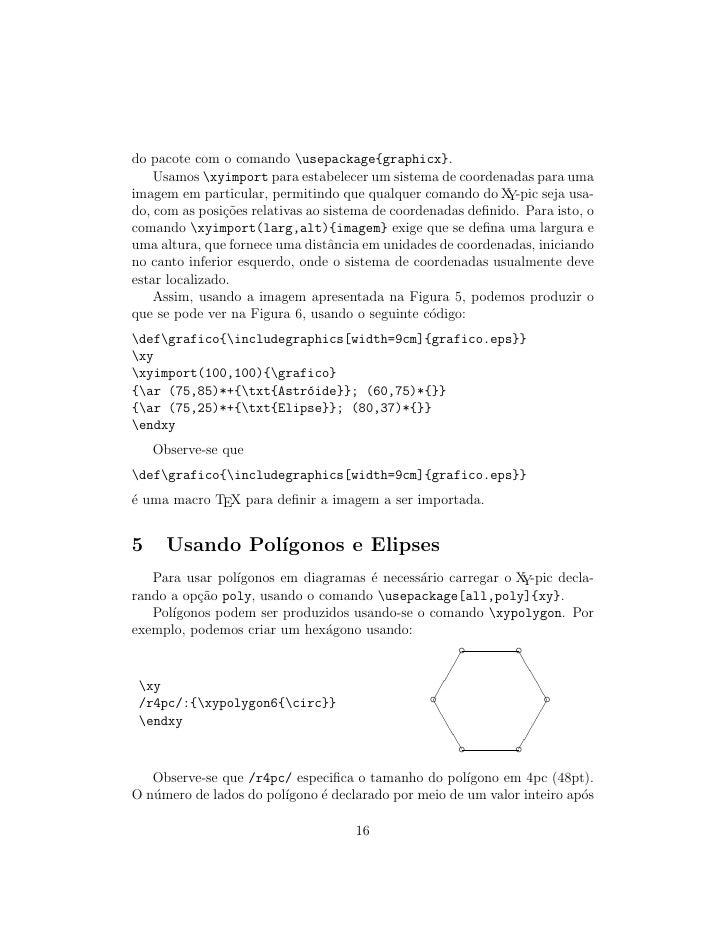do pacote com o comando usepackage{graphicx}.     Usamos xyimport para estabelecer um sistema de coordenadas para uma imag...