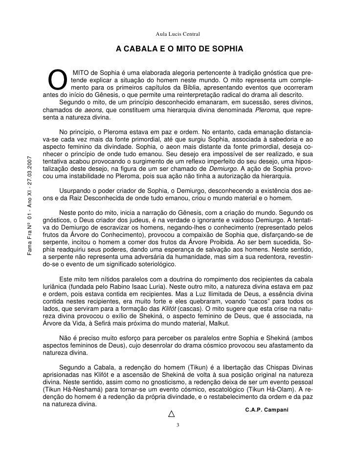 Aula Lucis Central                                                                  A CABALA E O MITO DE SOPHIA           ...