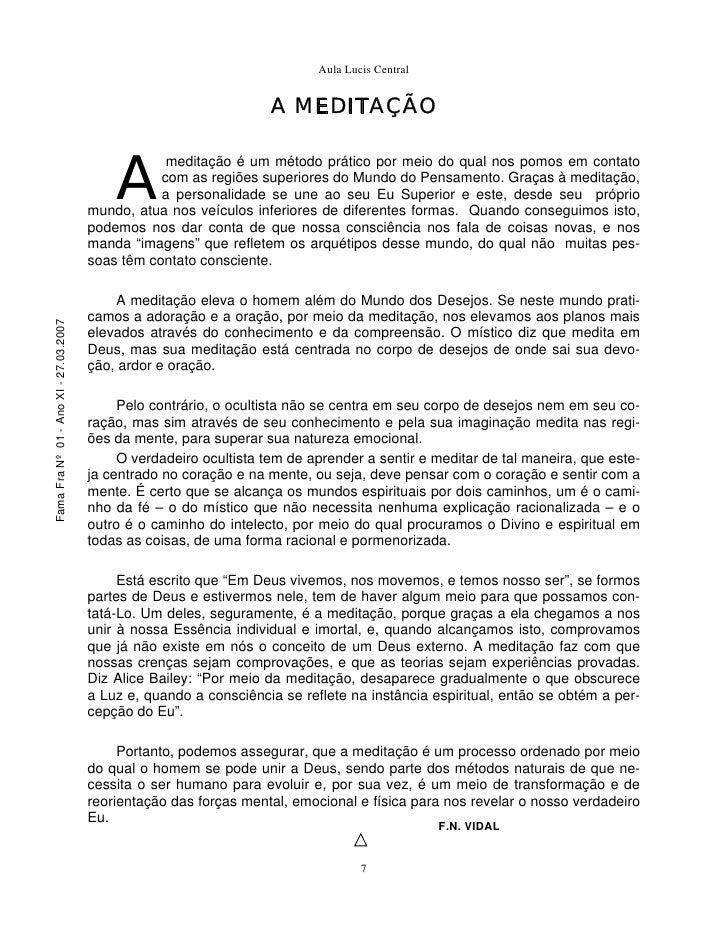 Aula Lucis Central                                                                       A MEDITAÇÃO                      ...