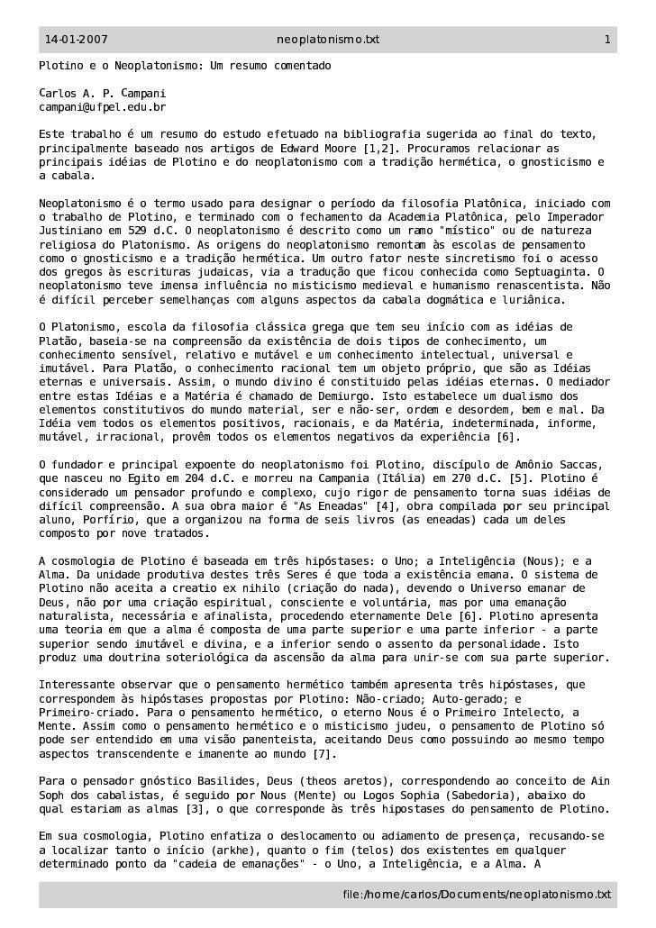 plotino e neoplatonismo um resumo comentado7073 Exemplo De Resumo De Artigo #17