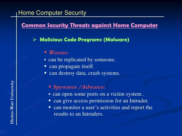 computer security risk for home users To an ordinary user, securing a computer can be a nearly impossible task just figuring out what to watch out for can be a challenge in itself what are the threats that should matter to ordinary, everyday users and what can they do to avoid them.