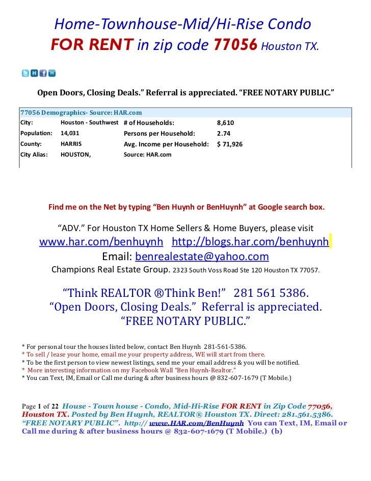 "Home-Townhouse-Mid/Hi-Rise Condo              FOR RENT in zip code 77056 Houston TX.      Open Doors, Closing Deals."" Refe..."