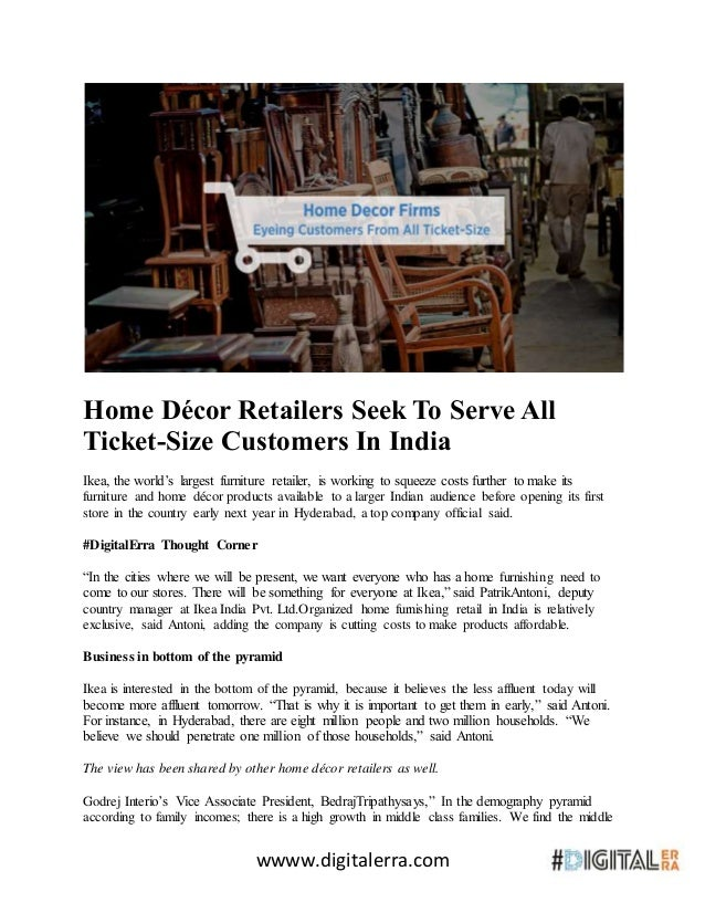 The Home Decor Companies | Home Decor Retailers Seek To Serve All Ticket Size Customers In India
