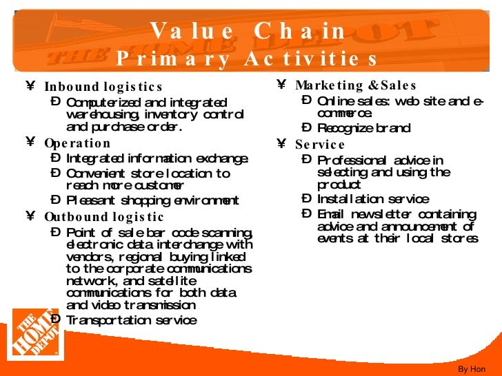 home depot value chain analysis Opportunities and threats related to the home depot swot analysis of home depot: retail chain home depot is the biggest player in the home improvement market other than lowe true value hardware and ace.