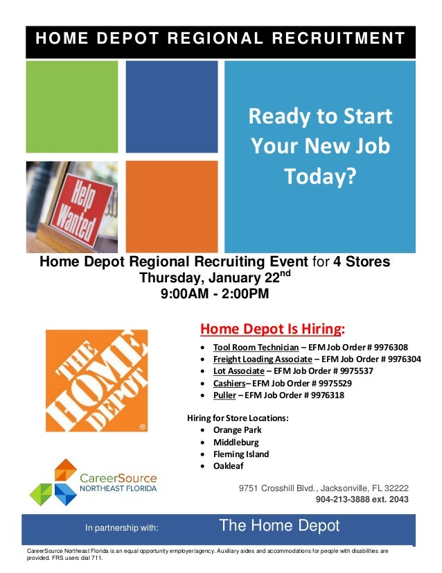 Home Depot Regional Recruiting Event For 4 Stores Thursday January 22nd 900AM