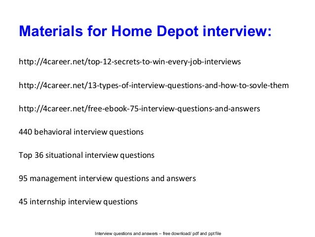 Home depot phone interview questions answers insured by ross for Homegoods interview questions
