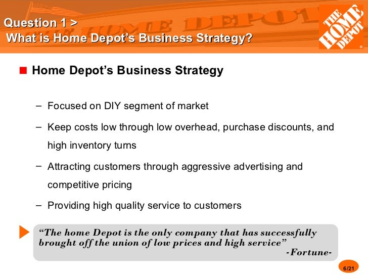 home depot case leadership 1 an investment analysis case study: the home depot this case is a group project that is due on march 29 before 1030 am stating the obvious: each group will turn in one report (sounds obvious, but might as well make it explicit) electronically (as a pdf file)while you should include your cash.