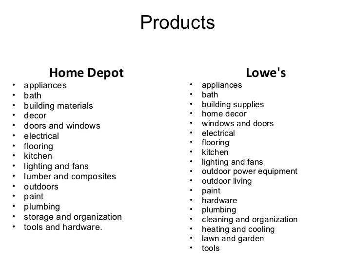 compare and contrast lowes and home depot Compare and contrast the financial ratios for home depot and lowes which company is in a stronger position based on ratio analysis refer to the ratio analysis for lowe's table below f compare and contrast the financial forecast for home depot and lowes.
