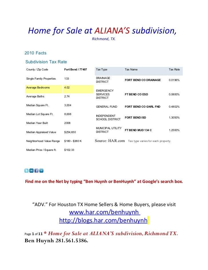 Home for Sale at ALIANA'S subdivision,                                                  Richmond, TX.2010 FactsSubdivision...