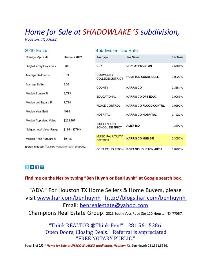 Home for Sale at SHADOWLAKE 'S subdivision,Houston, TX 77082.2010 Facts                                           Subdivis...