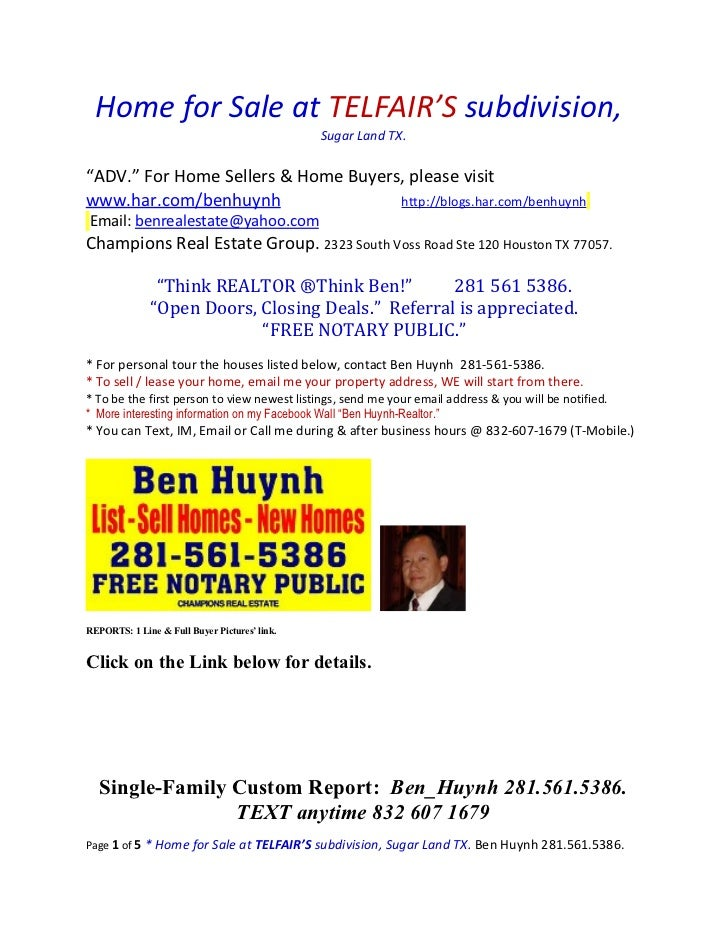 """Home for Sale at TELFAIR'S subdivision,                                               Sugar Land TX.""""ADV."""" For Home Seller..."""