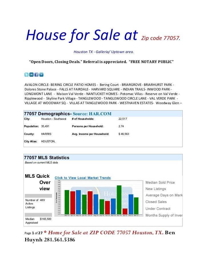 House for Sale at                                                          Zip code 77057.                                ...