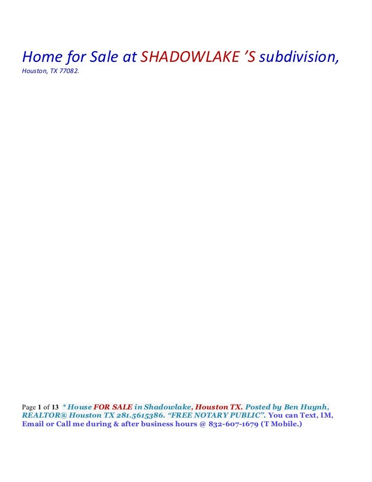 Home for Sale at SHADOWLAKE 'S subdivision,Houston, TX 77082.Page 1 of 13 * House FOR SALE in Shadowlake, Houston TX. Post...