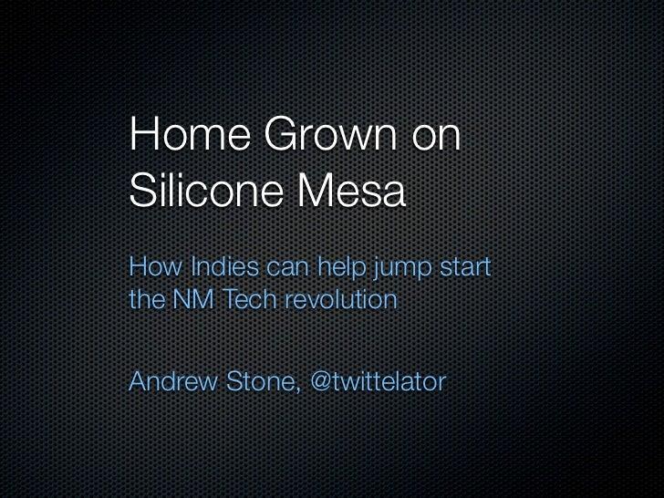 Home Grown onSilicone MesaHow Indies can help jump startthe NM Tech revolutionAndrew Stone, @twittelator
