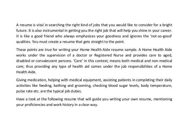 home health aide job description resume