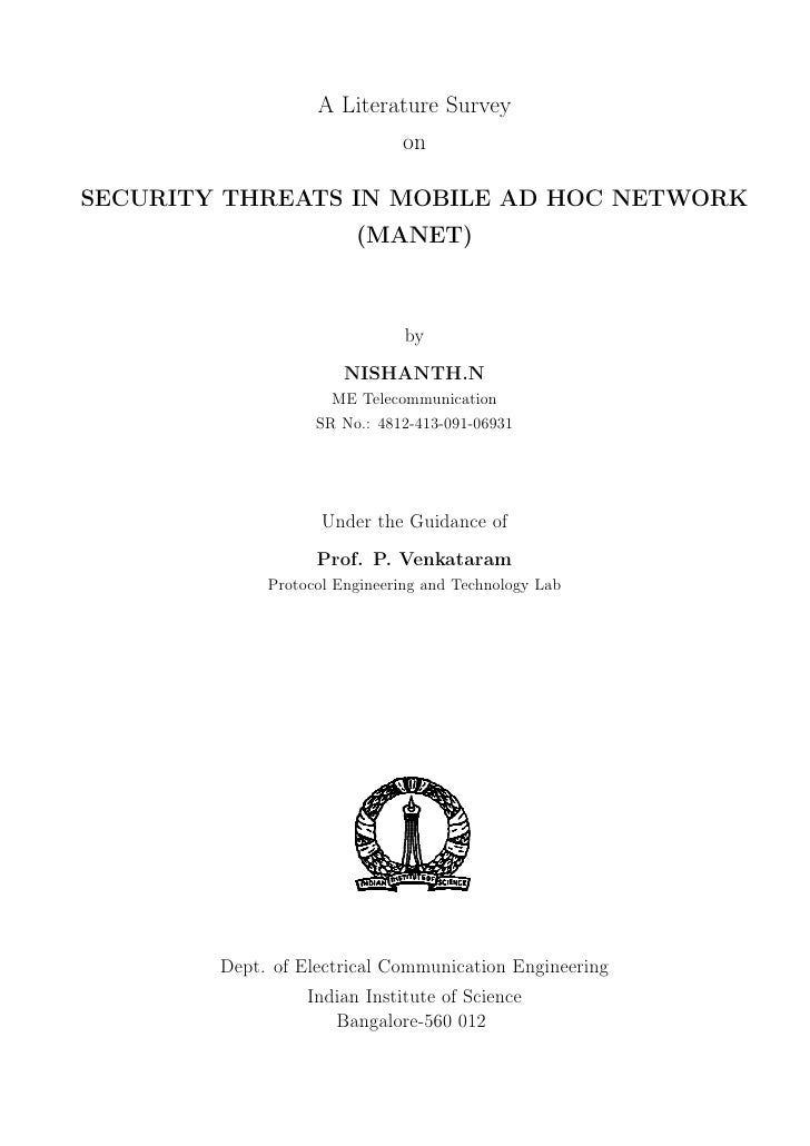 A Literature Survey                               on  SECURITY THREATS IN MOBILE AD HOC NETWORK                         (M...
