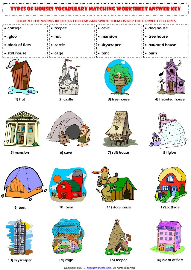 Home house types vocabulary matching exercise worksheet for All types of houses pictures