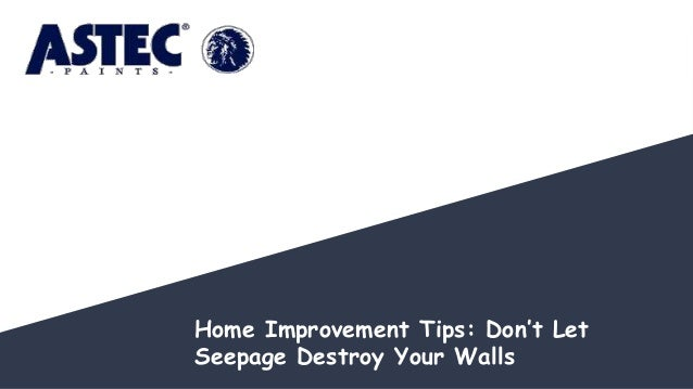 Home Improvement Tips: Don't Let Seepage Destroy Your Walls
