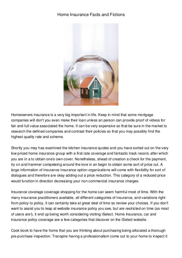 Home Insurance Facts and Fictions