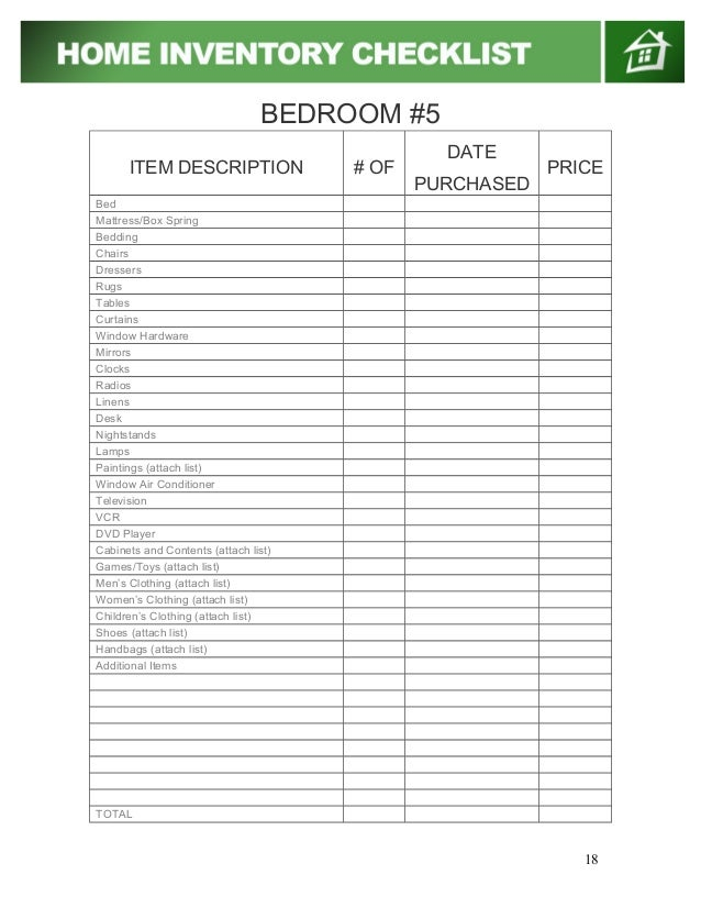 Home Inventory Checklist  Ex
