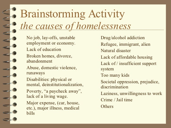 homelessness brainstorming activity the causes of homelessness 4