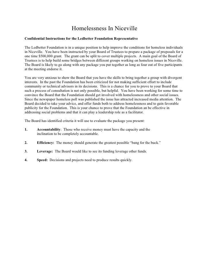 Homelessness In Niceville Confidential Instructions for the Ledbetter Foundation Representative  The Ledbetter Foundation ...