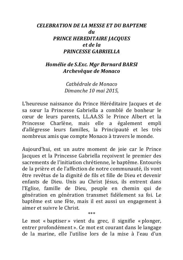 CELEBRATION  DE  LA  MESSE  ET  DU  BAPTEME   du   PRINCE  HEREDITAIRE  JACQUES   et  de  la  ...