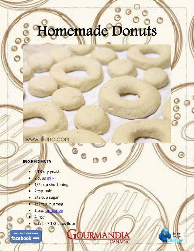 Homemade DonutsINGREDIENTS 2 TB dry yeast 2 cups milk 1/2 cup shortening 2 tsp. salt 2/3 cup sugar 1/2 tsp. nutmeg ...