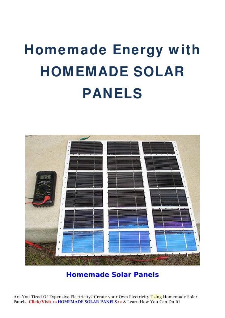 Homemade Energy With Homemade Solar Panels