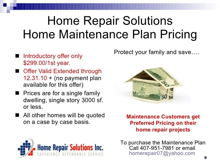 Home Maintenance Plan – Home Maintenance Services Agreement