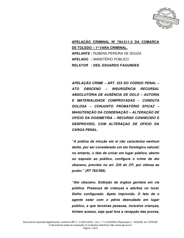 APELAÇÃO CRIMINAL Nº 784.511-2 DA COMARCA                                          DE TOLEDO – 1ª VARA CRIMINAL.          ...