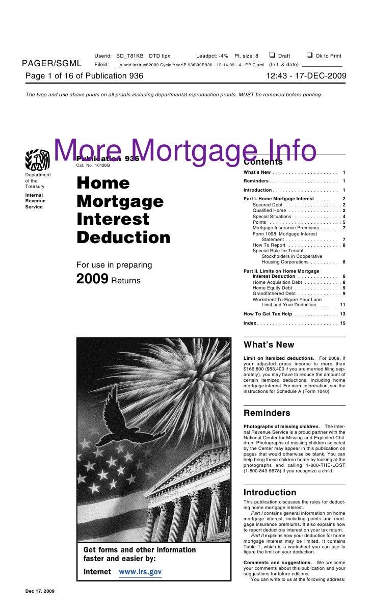 More Mortgage Info                Publication 936                Cat. No. 10426G                                          ...