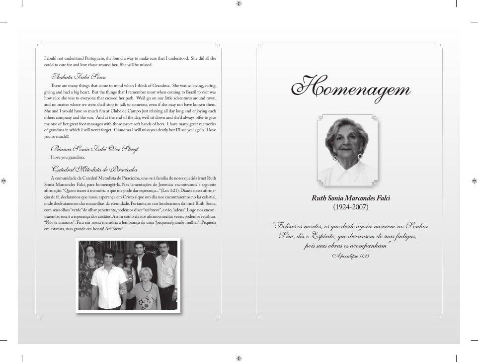 """Homenagem                 Ruth Sonia Marcondes Falci                      (1924-2007)  """"Felizes os mortos, os que desde ag..."""