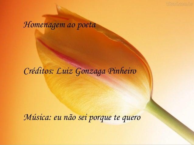 Homenagem ao poetaCréditos: Luiz Gonzaga PinheiroMúsica: eu não sei porque te quero