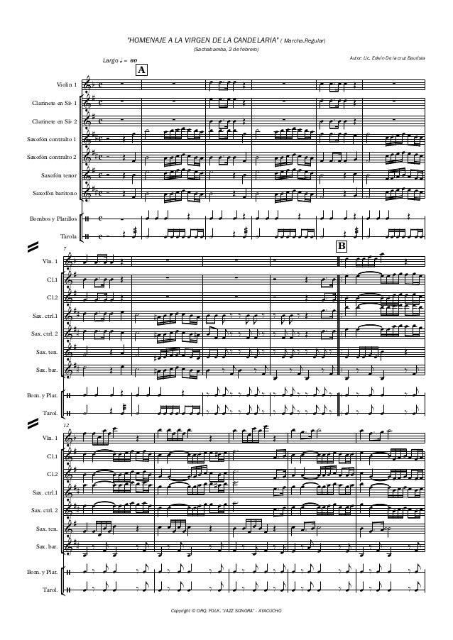 "° ¢ ° ¢ ° ¢ ° ¢ ° ¢ ° ¢ Copyright © ORQ. FOLK. ""JAZZ SONORA"" - AYACUCHO Violín 1 Clarinete en Sib 1 Clarinete en Sib 2 Sax..."