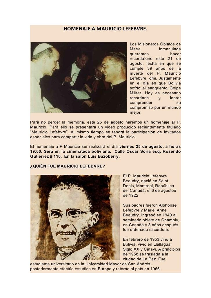 HOMENAJE A MAURICIO LEFEBVRE.                                                       Los Misioneros Oblatos de             ...