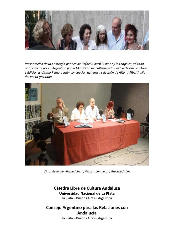 PresentacióndelaantologíapoéticadeRafaelAlbertiElamorylosángeles,editadaporprimeravezenArgentinapor...