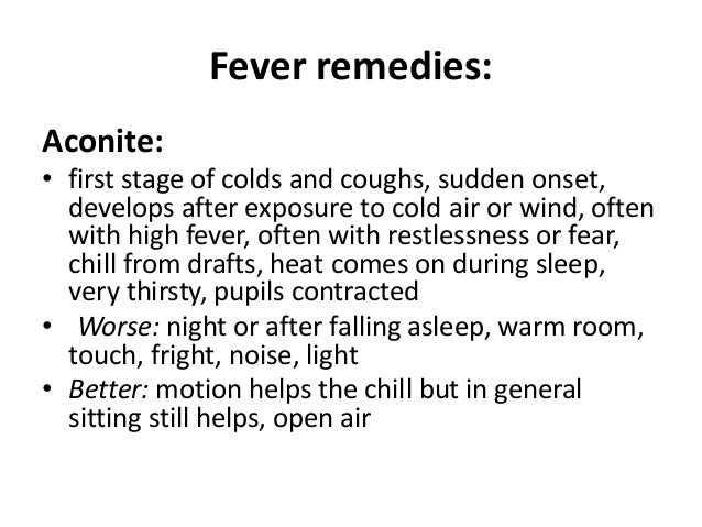 Homeopathic remedies for fevers, coughs, and sinus