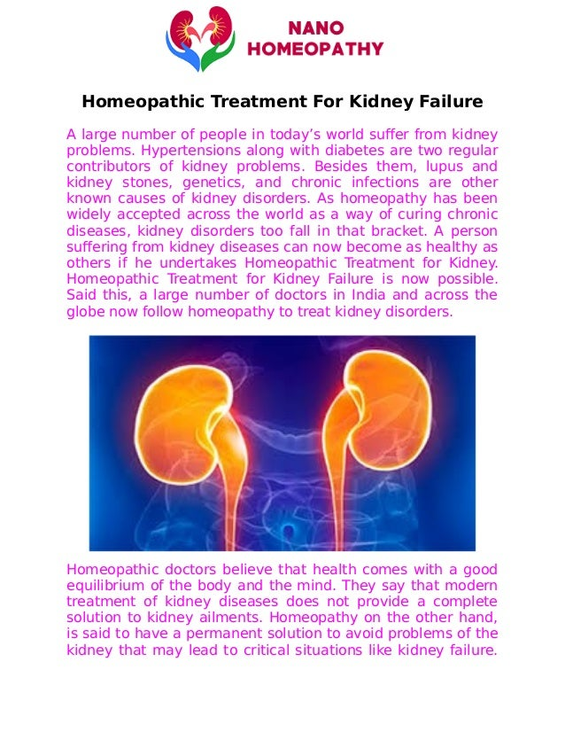 Homeopathic Treatment For Kidney Failure