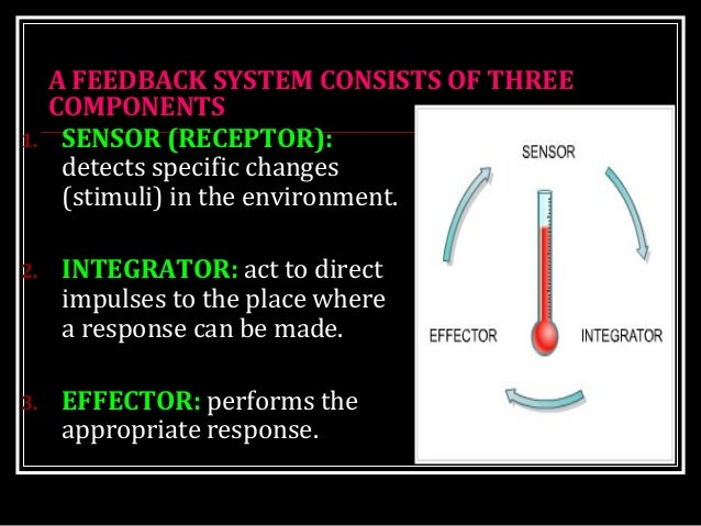 A FEEDBACK SYSTEM CONSISTS OF THREE COMPONENTS 1. SENSOR (RECEPTOR): detects specific changes (stimuli) in the environment...